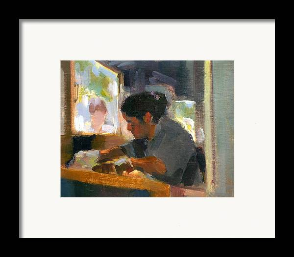 Urban Framed Print featuring the painting New York Taqueria by Merle Keller
