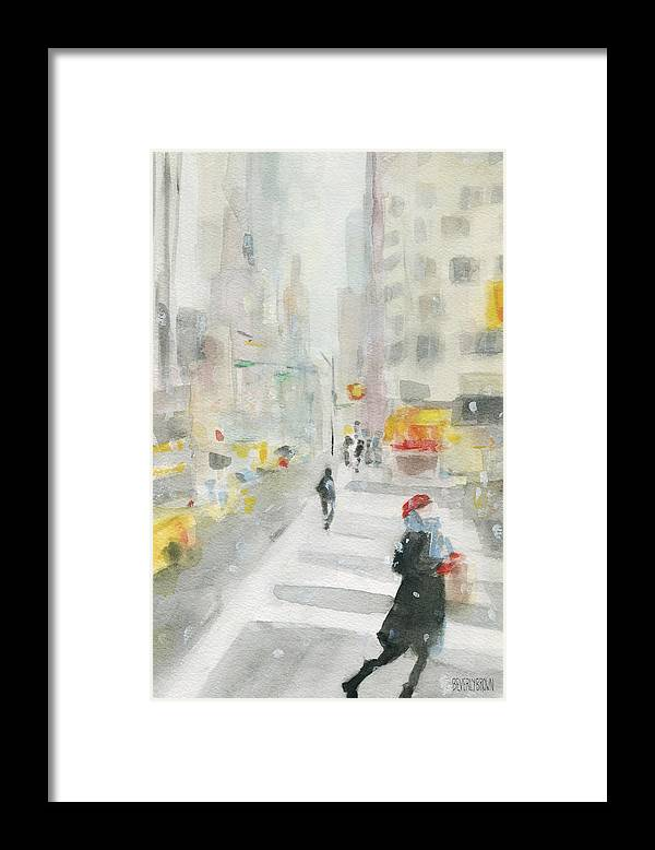 New York Framed Print featuring the painting New York Winter 57th Street by Beverly Brown
