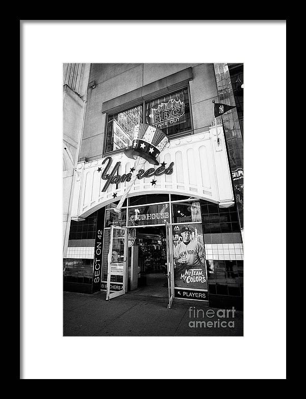 New York Framed Print featuring the photograph new york yankees club house store New York City USA by Joe Fox