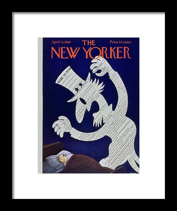 Income Taxes Framed Print featuring the painting New Yorker April 11 1959 by Charles E Martin