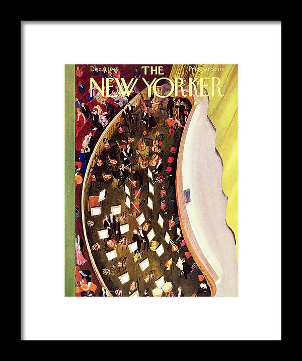 Overhead Framed Print featuring the painting New Yorker December 3 1949 by Roger Duvoisin