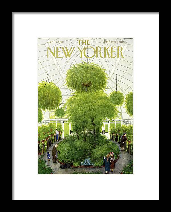 Greenhouse Framed Print featuring the painting New Yorker January 13 1951 by Edna Eicke