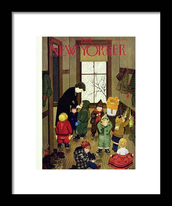 Teacher Framed Print featuring the painting New Yorker January 21 1950 by Edna Eicke