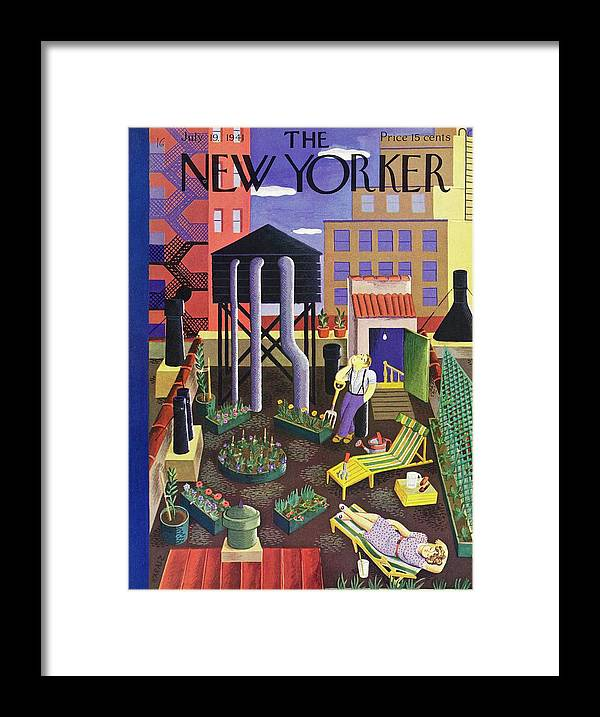 Couple Framed Print featuring the painting New Yorker July 19 1941 by Ilonka Karasz