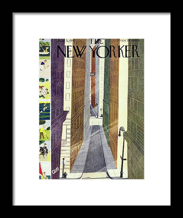 Urban Framed Print featuring the painting New Yorker July 5th, 1947 by Charles E Martin