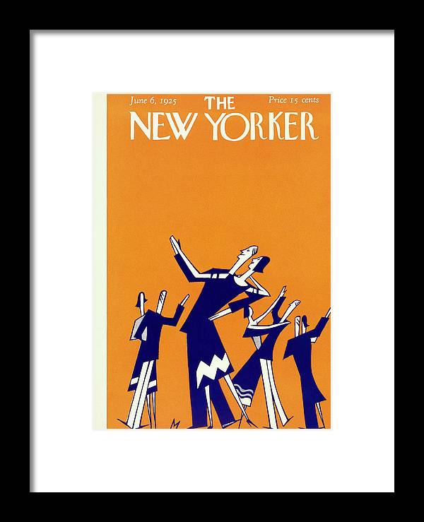 Illustration Framed Print featuring the painting New Yorker Magazine Cover Of Couples Dancing by Julian De Miskey