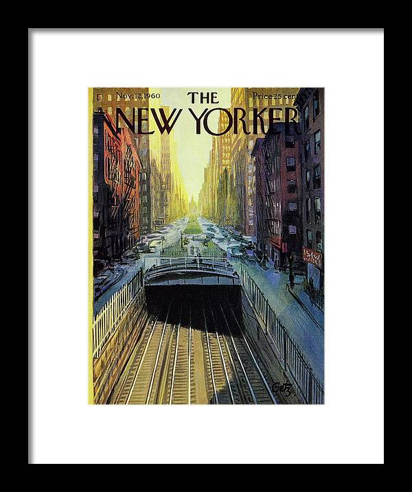 Illustration Framed Print featuring the painting New Yorker November 12 1960 by Arthur Getz