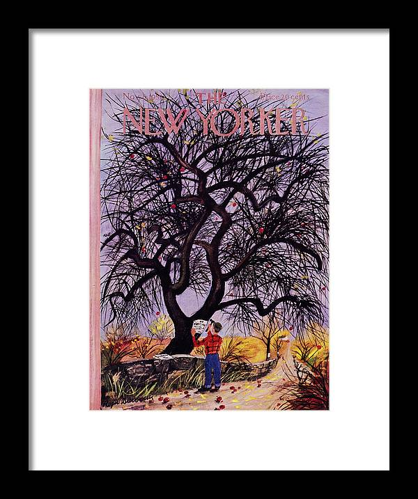 Man Framed Print featuring the painting New Yorker November 5 1955 by Roger Duvoisin