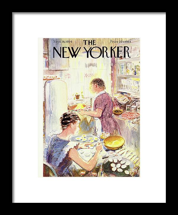Hostess Framed Print featuring the painting New Yorker September 18 1954 by Garrett Price