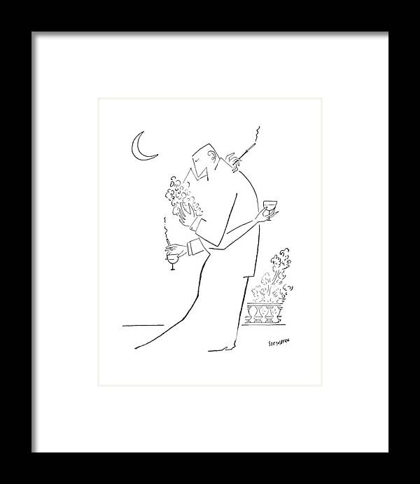 97437 Sst Saul Steinberg (couple Embrace. Both Are Holding A Cocktail Glass And A Cigarette.) Alcohol Attraction Attractive Beer Booze Both Chase Cigarette Cocktail Couple Drink Embrace ?irt ?irting Glass Hit Hitting Holding Likeness Love Marriage Men Personality Relations Relationships Romance Sex Sexual Sexy Similar Smoke Smoking Vice Women Framed Print featuring the drawing New Yorker September 5th, 1953 by Saul Steinberg