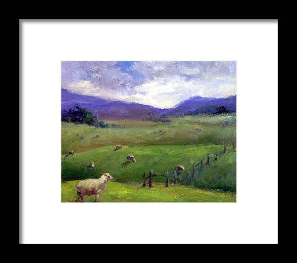Landscape Painting Framed Print featuring the print New Zealand Sheep Farm by Michelle Philip