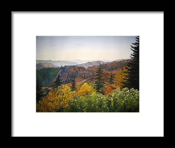 Newfound Gap Framed Print featuring the painting Newfound Gap by Shirley Braithwaite Hunt