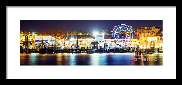 Newport Balboa Fun Zone at Night Panorama Photo by Paul Velgos
