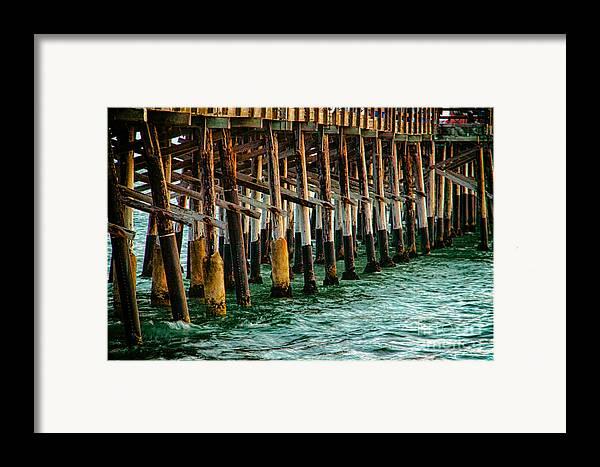 Sunset From Newport Beach Pier Framed Print featuring the photograph Newport Beach Pier Close Up by Mariola Bitner
