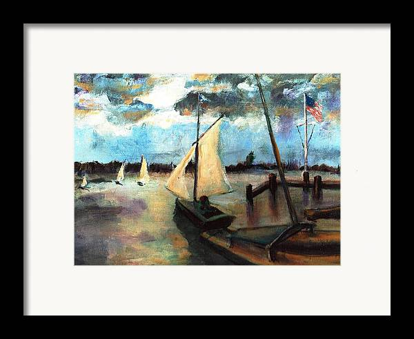 Newport Framed Print featuring the painting Newport Moonlight Sail by Randy Sprout