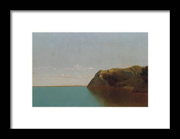 Newport Rocks By John Frederick Kensett Framed Print featuring the painting Newport Rocks by MotionAge Designs