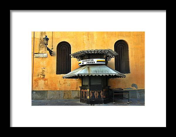 Architecture Framed Print featuring the photograph Newsstand - Parma - Italy by Silvia Ganora