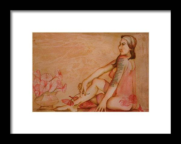 This Painting Depicts Humor Once Reserved For The Male. The Nude Woman In Translucent Ngliglee Sports A List Of Tatoos Of Her Lovers. Last Would Be 'next'. Hues Of Pinks And Browns. Framed Print featuring the painting Next by Georgia Annwell