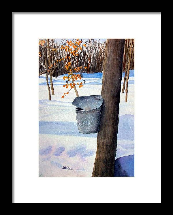 Sap Bucket. Maple Sugaring Framed Print featuring the painting NH Goldmine by Sharon E Allen