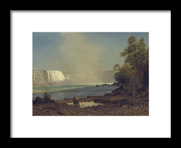 Waterfall; American; Canadian; Landscape; Natural; Phenomenon Framed Print featuring the painting Niagara Falls by Albert Bierstadt