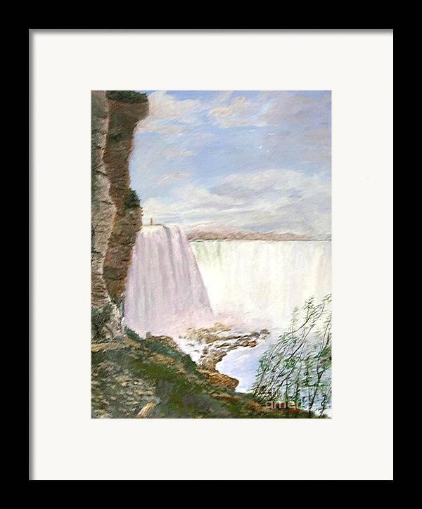 Landscape Painting Niagra Falls Framed Print featuring the painting Niagara Falls by Nicholas Minniti