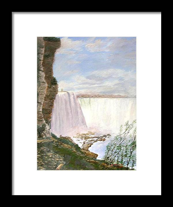 Landscape Painting Niagra Falls Framed Print featuring the painting Niagara Falls by Nicholas Minniti