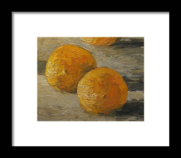 Oranges Framed Print featuring the painting Nice Oranges by Tom Forgione