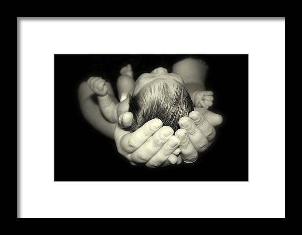 Baby Framed Print featuring the photograph Nicholas In Good Hands by Kerry Reed