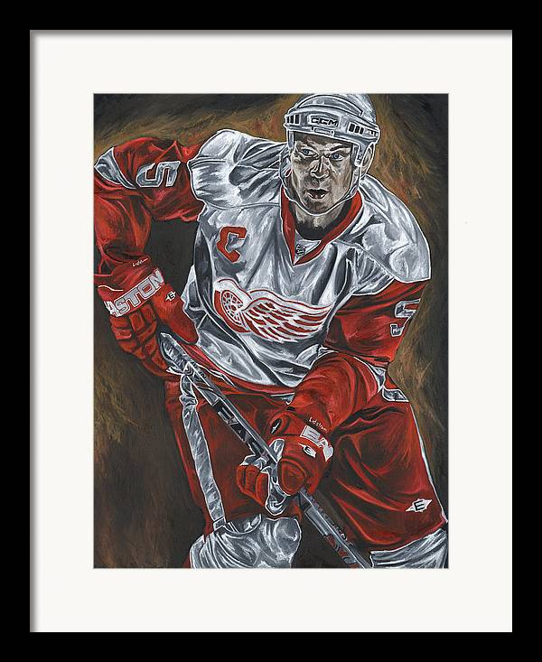 Nicklas Lidstrom Detroit Redwings Hockey Captain David Courson Art Sports Framed Print featuring the painting Nicklas Lidstrom by David Courson