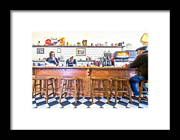 People Framed Print featuring the photograph Nick's Diner by David Ralph Johnson