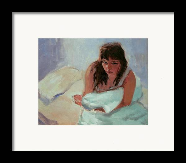 Portrait Framed Print featuring the painting Nicole In The Morning by Merle Keller