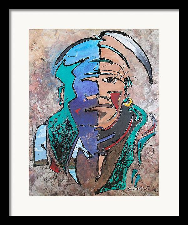 Abstract Framed Print featuring the painting Nigel The Guardian by Ernie Scott- Dust Rising Studios
