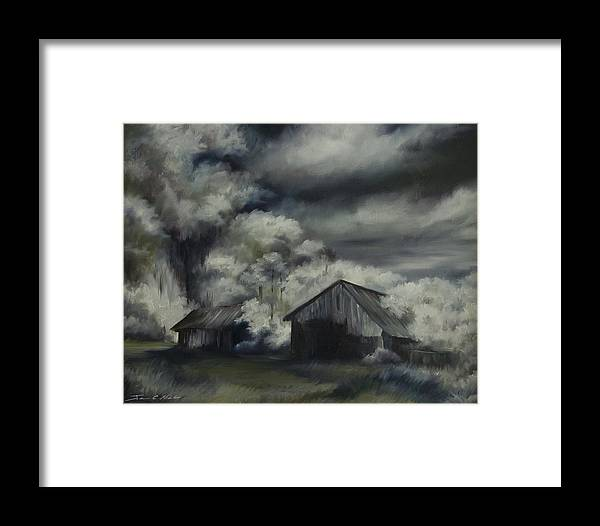 Motel; Route 66; Desert; Abandoned; Delapidated; Lost; Highway; Route 66; Road; Vacancy; Run-down; Building; Old Signage; Nastalgia; Vintage; James Christopher Hill; Jameshillgallery.com; Foliage; Sky; Realism; Oils; Barn Framed Print featuring the painting Night Barn by James Christopher Hill