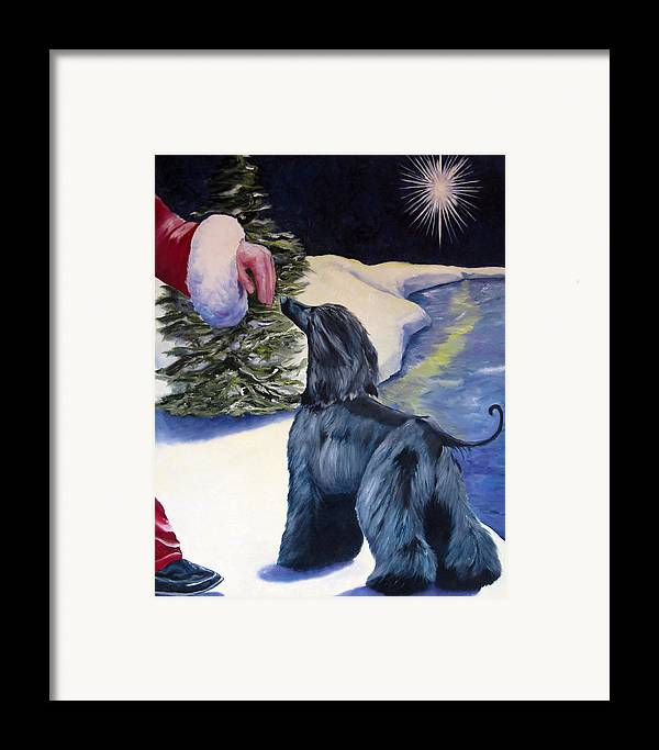 Afghan Hound Framed Print featuring the painting Night Before Xmas by Terry Chacon