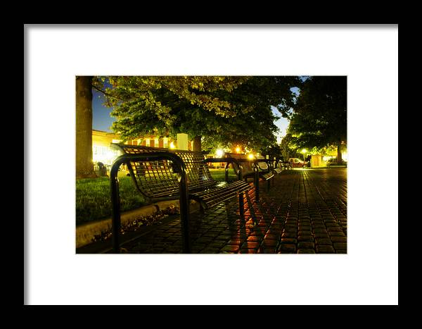 Night Framed Print featuring the photograph Night Bench by Carl Perry