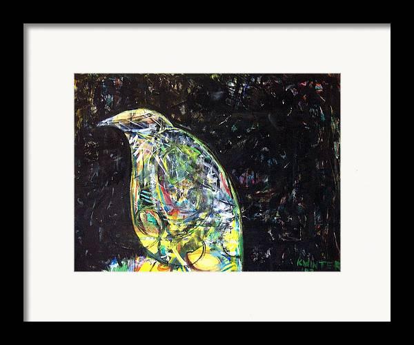Bird Night Framed Print featuring the mixed media Night Bird by Dave Kwinter