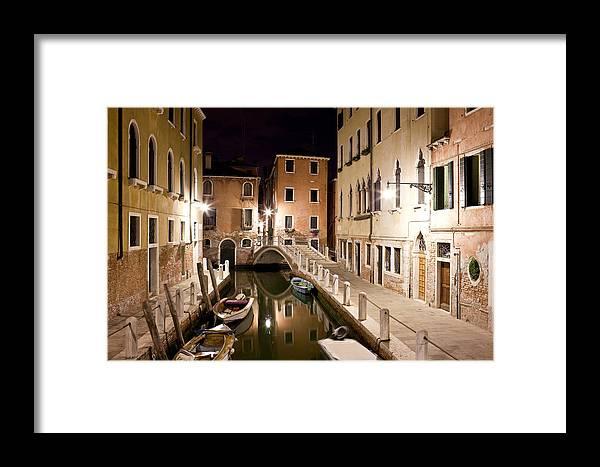 Venezia Framed Print featuring the photograph Night Bridge by Marco Missiaja