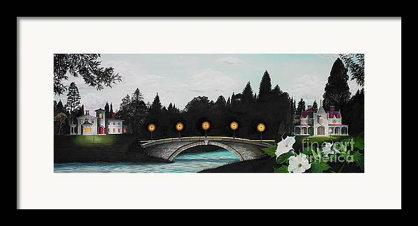 Architecture Framed Print featuring the painting Night Bridge by Melissa A Benson