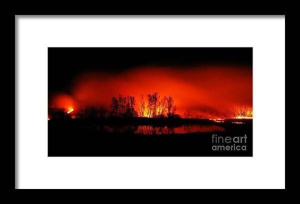 Pasture Burns Framed Print featuring the photograph Night Burn by Audie T Photography