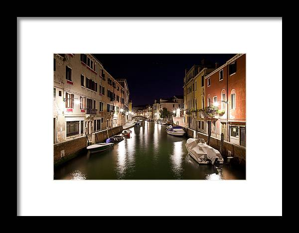 Venezia Framed Print featuring the photograph Night Canal by Marco Missiaja