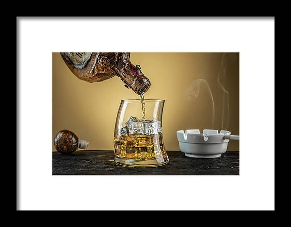 Whiskey Framed Print featuring the photograph Night Cap by Derek Bissonnette