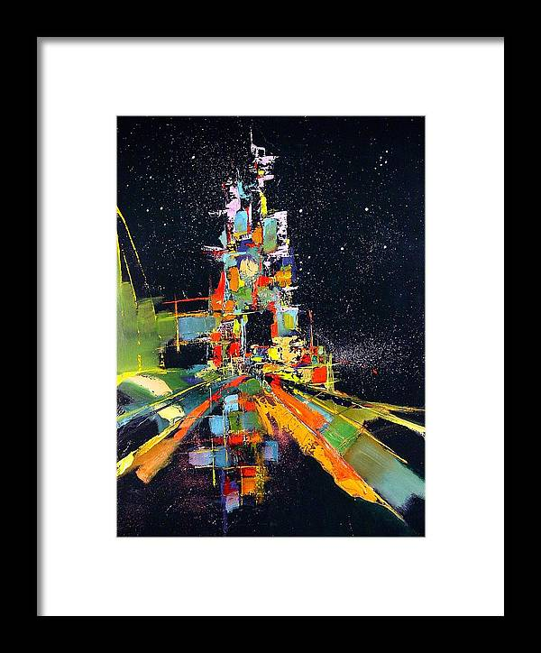 Abstract Framed Print featuring the painting Night Carnival by Ronald Dykes