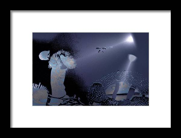 Diving Framed Print featuring the digital art Night Dive by Mushtaq Bhat