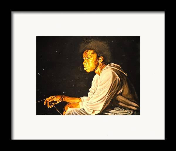Night Scene Framed Print featuring the painting Night Fisher by Thomas Akers