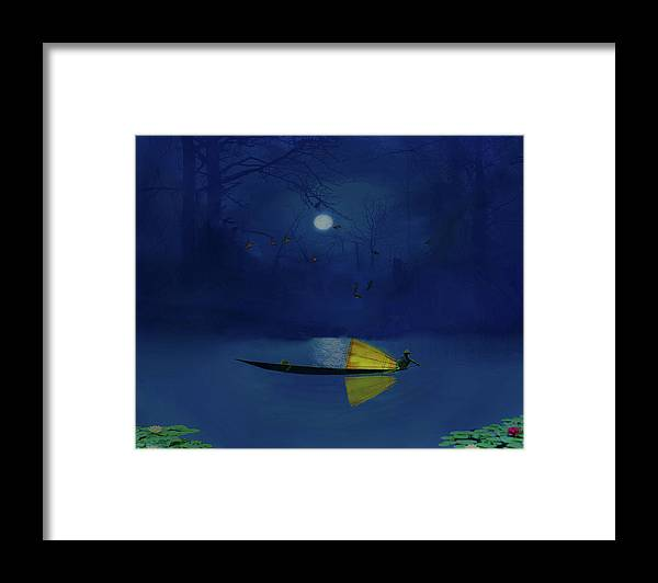 Fishing Framed Print featuring the photograph Night Fishing by David Simons