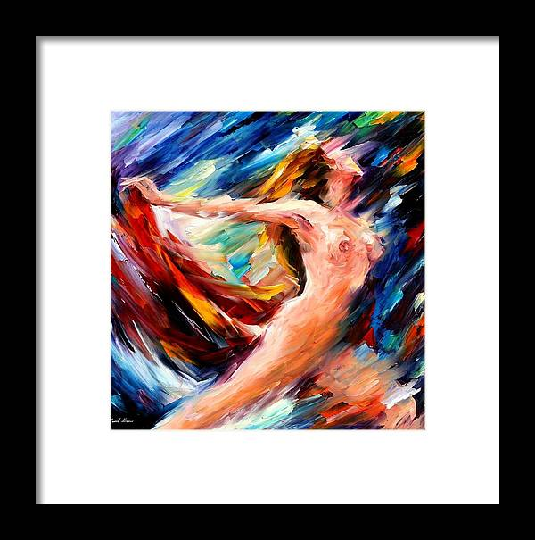 Nude Framed Print featuring the painting Night Flight by Leonid Afremov