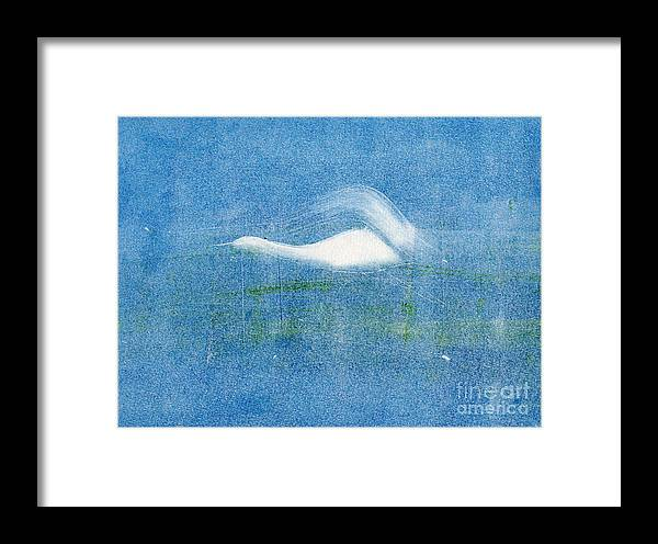 A Crane Flying At Night-original Monotype Print Framed Print featuring the painting Night Flight by Mui-Joo Wee