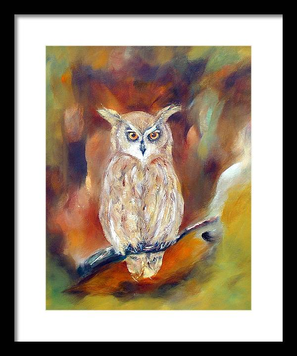 Owl Framed Print featuring the painting Night Flight by Zoe Landria