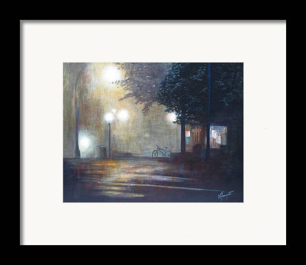 Fog Framed Print featuring the painting Night Fog by Victoria Heryet