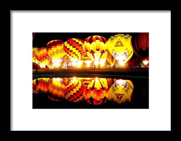 Hot Air Balloon Festival Framed Print featuring the photograph Night Glow At The Pond by Adrienne Wilson